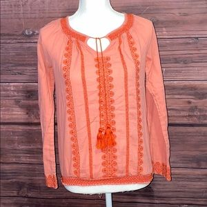 💥5/$25💥Lucky Brand Blouse With Tassel Ties